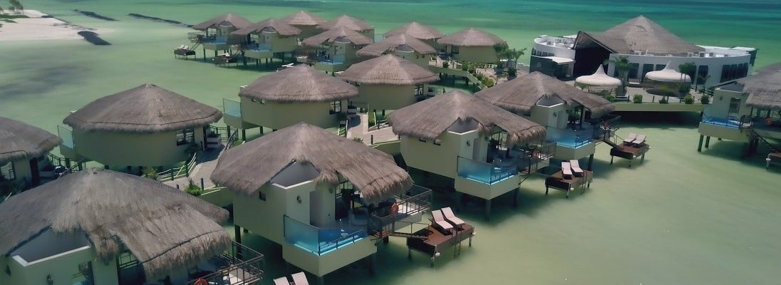 DRONESHOT 1096x400 - A romantic honeymoon with butler service at Mexico's first overwater bungalows