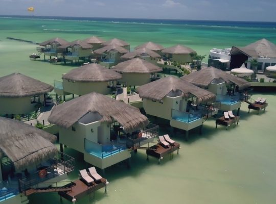 DRONESHOT 540x400 - A romantic honeymoon with butler service at Mexico's first overwater bungalows